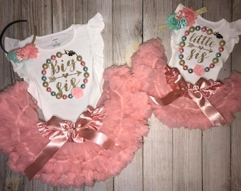 Little Sister Big Sister Outfits in Coral and Mint - Matching Sister Outfits with Chunky Necklace - Big Sis Little Sis Outfits