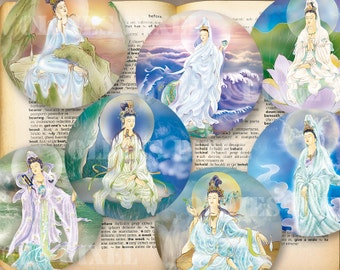 24 Buddhism Avalokiteśvara Collection Digital Collage Sheet 1.5 inch & 1 inch Circle images Instant Download for Glass Pendants Oe16