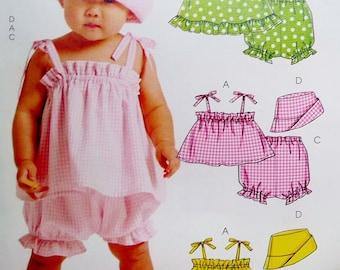 Superbe ensemble barboteuse, haut, culotte, seau soleil chapeau McCalls 5783 couture patron facile enfant taille S M L XL, 13-29 euros, pour bébé (3, 6, 9, 12-18 mois) non découpé
