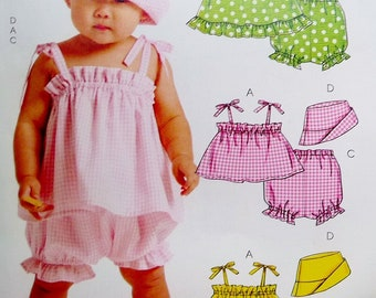 Baby Sunsuit, Top, Panties, Bucket Sun Hat McCalls 5783 Sewing Pattern EASY Infant Size S M L XL, 13 - 29 Lbs, (3, 6, 9, 12 - 18 Mos) UNCUT