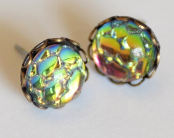 Medium Rainbow Earrings, Rainbow Studs, Dragon Scales Earrings, Dragon Egg Studs, Mermaid Scale Studs, Surgical Steel Stud Earrings, SRAJD