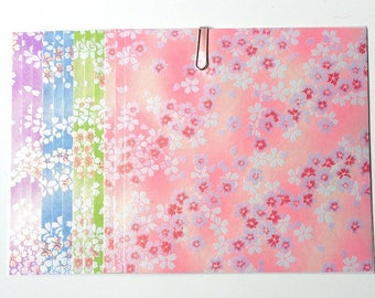 Japanese WASHI paper Origami YUZEN Chiyogami, 12 sheets, 15x15cm (Y034)