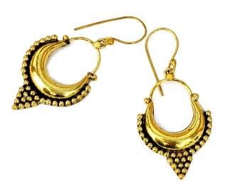 Ornate Hoop Earrings, Gypsy Brass Earrings, Tribal Earrings, Ethnic Earrings, Belly Dance Earrings, Gypsy Earrings, Tribal Jewellery
