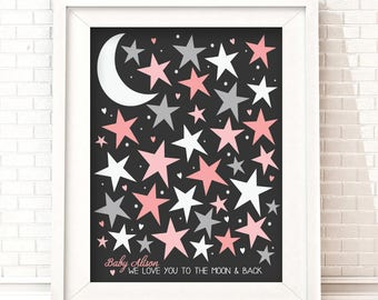 Moon & Stars Guestbook, Baby Shower Sign in, To the Moon and Back, Twinkle Star Guestbook, Baby Shower | Printable Nursery Decor