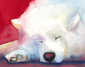Samoyed Art Print of Original Watercolor Painting - 8x10 Dog Art