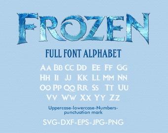 Frozen font SVG, Frozen svg, Frozen alphabet svg, silhouette font EPS png jpg files. Disney font svg dxf for Silhouette Cameo or Cricut