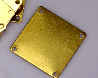 40 Pcs Raw Brass 20 mm Square tag 4 hole connector Charms ,Findings 669R-54