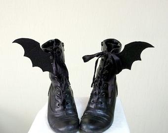 BAT WINGS gothic lolita shoes bat costume corset wings bat wings for shoes corset accessory gothic shoes accessory black bat wings felt wing