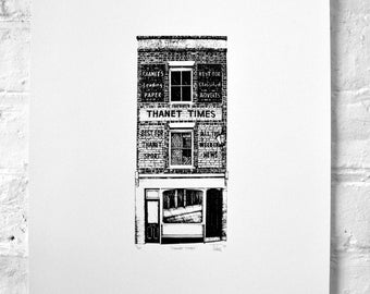 Thanet Times Building. Margate. Silkscreen Print.
