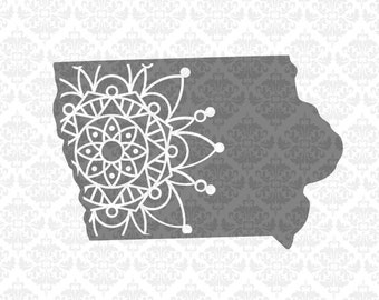 Iowa Mandala Svg, Iowa zentangle svg, Iowa state svg, Iowa svg, Iowa Outline svg, Iowa shirt svg, Iowa svgs, Silhouette, Cricut, Cut Files