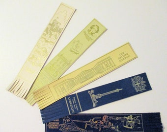 LONDON BOOKMARKS, London Area Landmarks, Leather Bookmarks, Set of 5