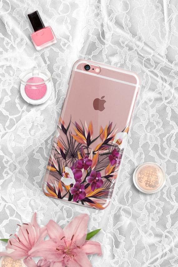 iPhone 7 Floral Clear Rubber Case iPhone 7 Plus Clear Case iPhone 6 Clear Case iPhone 6S Case iPhone SE Case S6 Edge Samsung S7 Edge Case