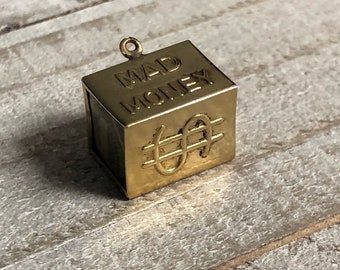 Vintage 3D 14k Yellow Gold Mad Money Charm from the 1960s.