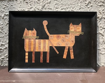 Couroc Cat Tray, Cat Lover Gift, Vintage Couroc of Monterey, Mid Century Modern, Coffee Table Tray