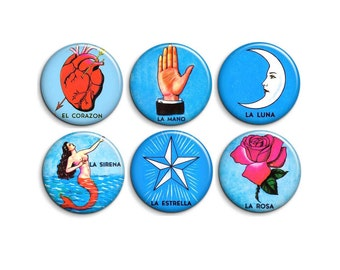 Mexican loteria - pinback badge buttons or magnets 1.5""