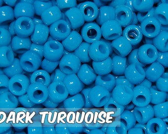 Dark Turquoise Opaque 6x9 mm Barrel Pony Beads
