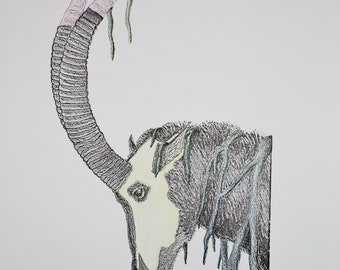 Giant Sable Antelope Woodblock Print