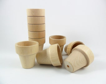 "Wood Flower Pots 1 15/16"" H x 1 3/4"" Dia. Miniatures - 10 Pieces"