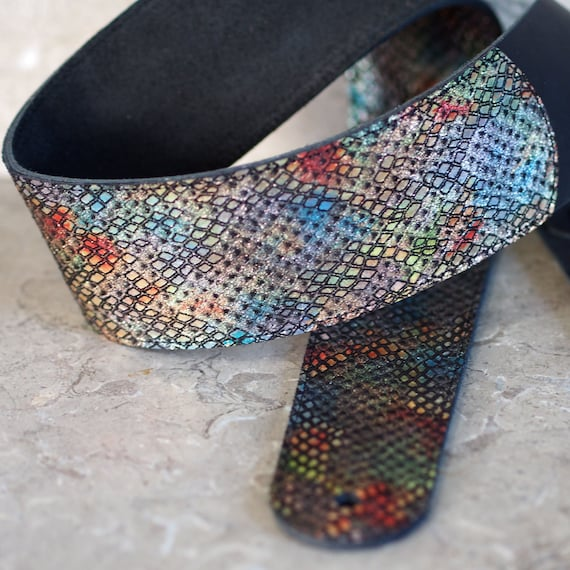 Rainbow Slither Leather Guitar Strap