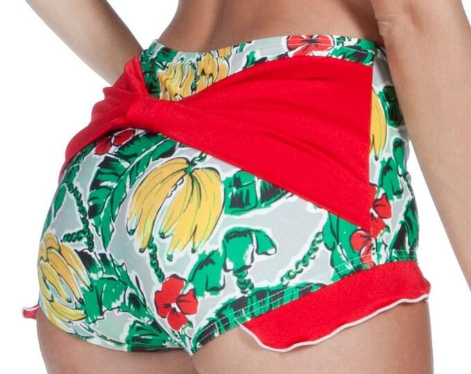 Shirley Bow Back with Ruffles Retro High Waisted Swim Bottom in Banana Print