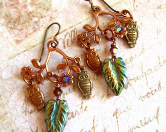 Vintage Owls, Gingerbread Brass, Old Rose Ox Copper, Woodland, Fall Earrings, Whimsical Owls, Owls on a Branch, Autumn, Niobium Earwires