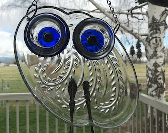 Re-purposed Luncheon Plate, Whimsical Glass Suncatcher, Re-cycled Glass Plate, Whimsical Owl, Glass Owl, OOAK Suncatcher, Owl Suncatcher,