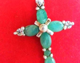 Jade Cross Pendant || Necklace || Sterling Silver