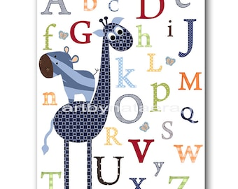 Kids Wall Art Alphabet Nursery Alphabet Giraffe Nursery Baby Nursery Art Decor Baby Boy Nursery Kids Art Baby Room Decor Nursery Print