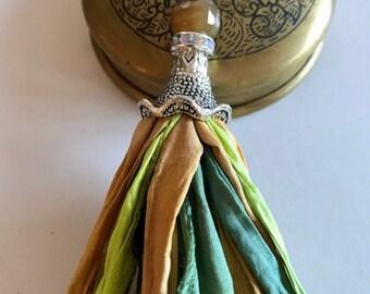 Sari Silk Tassel Necklace-Gold, Green, Teal Tassel-Boho Tassel Jewelry