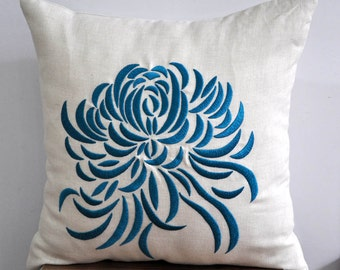 Floral pillow, Embroider Pillow, Linen Pillow, Throw Pillow Cover, Decorative pillow for couch, Chrysanthemum, flower embroidery, Cushion