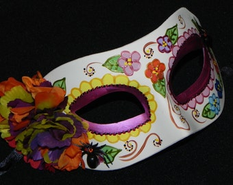 Multi Colored Day of the Dead Mask with Spider Accents - Halloween Mask