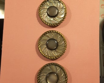 Vintage set of 3 engraved MOP buttons.