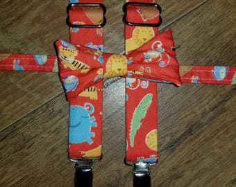 Jungle animals,lion, tiger, elephant Boys Bow tie and Suspender set- perfect fall pictures for boys toddler child - circus birthday outfit