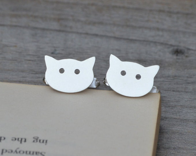 Cat Cufflinks In Solid Sterling Silver, With Personalized Message On The Backs, Handmade In The UK