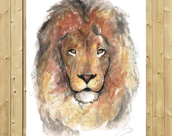 Lion, watercolor illustration, A5, A4 or A3, lion art, wall decor