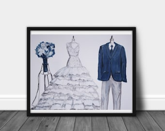 Custom wedding dress and tuxedo WITH BOUQUET, COLOR, drawing, bride and groom, paper anniversary, Anniversary, couple drawing 14 X 11