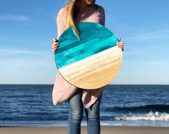 Modern Ocean Scape Circle Wood Wall Hanging