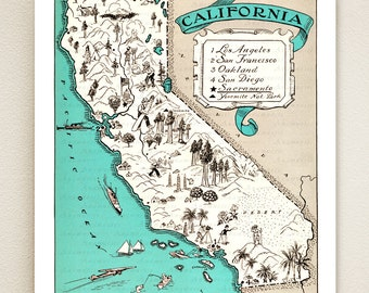 CALIFORNIA MAP print - vintage map - coastal artwork - turquoise blue - California wall decor - may be personalized - 16 color choices