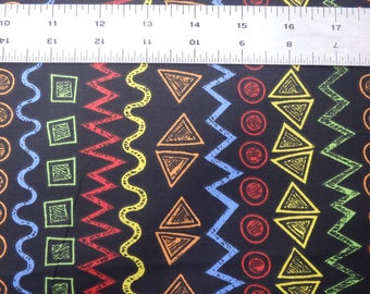 "Urban Zoo, Tribal Stripes, Stripes on Black, 44"" wide, by the half yard, 100% Quilting Cotton"