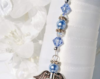 Something Blue Bouquet Charm Angel Bridal Bouquet Charm Swarovski Crystal and Pearl
