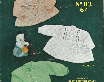 Sirdar Sunshine 113 Vintage Original Knitting Pattern Sweaters for Children Three Matinee Coats for 3 to 6 Months
