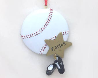 Baseball Christmas Ornament / Personalized Christmas Ornaent / Personalized Baseball Ornament / Baseball and Cleats