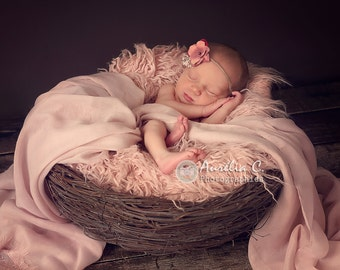 Faux fur, Newborn photo prop, Flokati fur, Fur rug, Basket stuffer, Dusty pink Faux Fur Nest Photography Prop Rug Newborn Baby Toddler