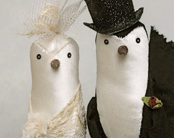 cake topper birds : queenie and french