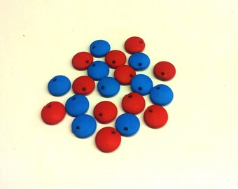 Set of 20 Red and blue sequins acrylic Matt T 22