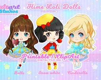 PRINTABLE Clipart Hime Princess Loli Chibi