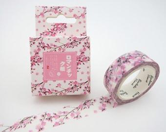 Pink Cherry blossom washi tape - Japanese washi tape - floral washi tape - pink masking tape - spring washi tape - sakura flower washi tape