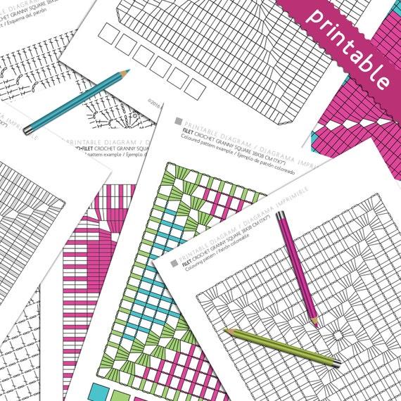 Diagrama para imprimir y colorear crochet ganchillo granny