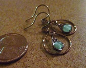 Antique Brass Wire-Wrapped Earrings in Teardrop Hoop