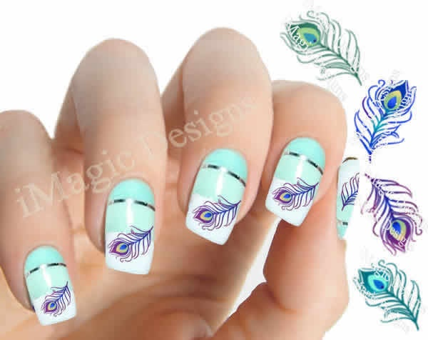 Nail art decals water slide nail stickers peacock feather zoom prinsesfo Images